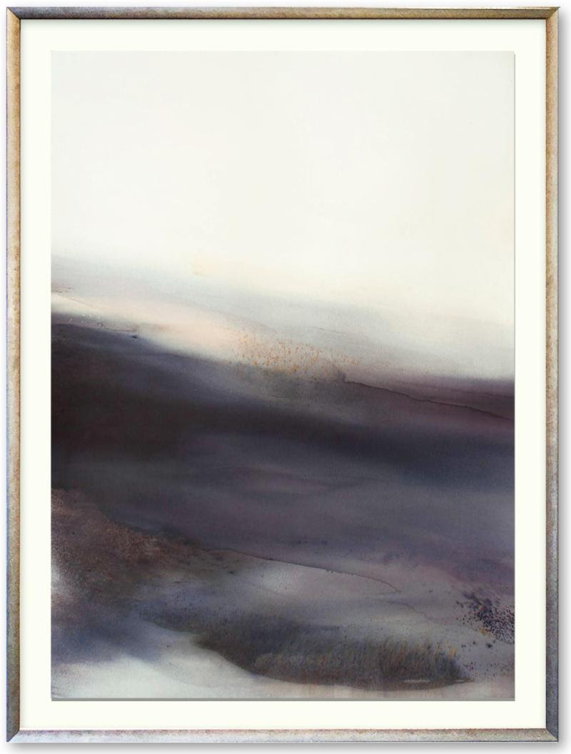 """Slow Autumn'' (mixed media on paper), by Sabrina Garrasi, in her show at Lanoue Gallery, Boston, through April 27.    The gallery says:    ""Through Garrasi's deft handling of watercolor, gouache, ink, acrylic, tempura and 22kt gold leaf, she creates translucent layers with ethereal qualities of light and shadow. ''"