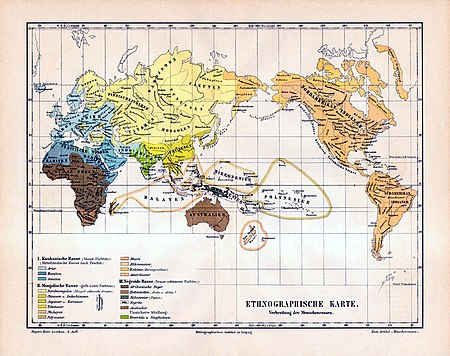 "The ""three great races"" according to    Meyers Konversations-Lexikon   of 1885-90.  The subtypes of the Mongoloid ""race'' are shown in    yellow    and    orange    tones, those of the Caucasoid ""race'' in light and medium    grayish       spring green   -   cyan    tones and those of the Negroid ""race'' in    brown    tones. Dravidians and Sinhalese are in    olive green    and their classification is described as uncertain. The Mongoloid ""race'' has the widest distribution, including all of the    Americas   ,    North Asia   ,    East Asia    and    Southeast Asia   , and the entire inhabited    Arctic    as well as most of    Central Asia    and the    Pacific Islands   ."