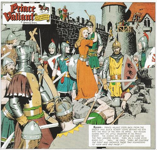 """Prince Valiant ,''    by Hal Foster (January 21, 1951 © King Features Syndicate, Inc.) in the show ""Masterpieces from the Museum of Cartoon Art'' at the Bruce Museum, Greenwich, Conn., through April 20.     This exhibition, the museum says, displays over 100 original works celebrating the history of the cartoon, with everything from comic strips and editorial cartoons to caricature and animation. These works are on loan from The Ohio State University Billy Ireland Cartoon Library and Museum, which received them as a donation from the original Museum of Cartoon Art. The museum, founded in 1974 in Greenwich, was the first museum dedicated to collecting, preserving and exhibiting cartoon art in Americ a."