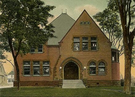 Postcard drawing of the New Milford Public Library, built in 1897-1898, as it appeared c. 1905.