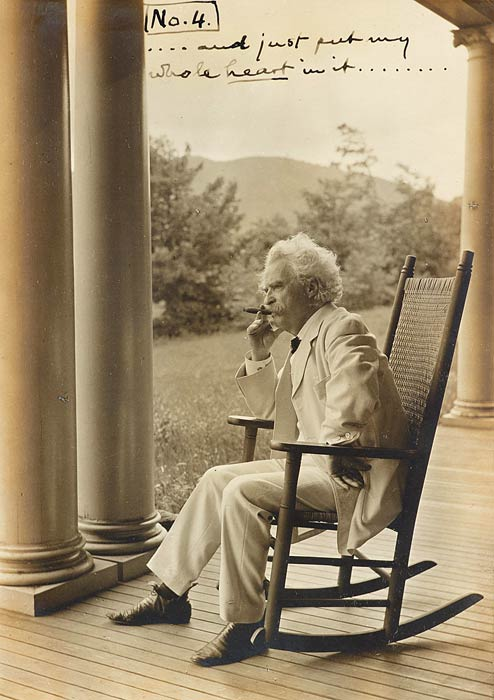 Mark Twain spent two summers in Dublin, and pronounced it his favorite place in the world. Here he is at Dublin's Mountain View Farm, which he rented in 1906.