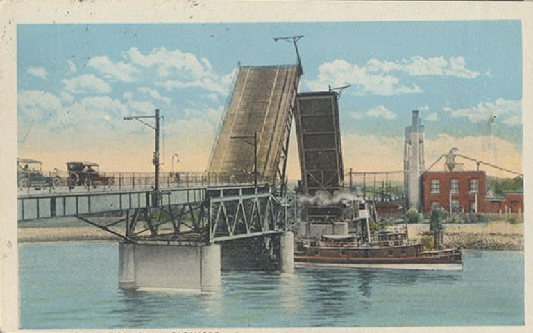The drawbridge over the canal that was replaced by the Sagamore Bridge.