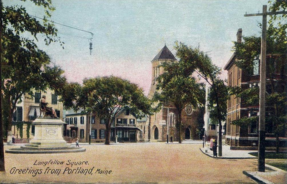 Portland's Longfellow Square (named for the artist) soon after the turn of the 20th Century.