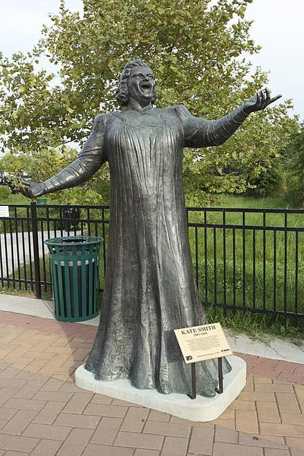 Statue of Kate Smith in Philadelphia, removed this month amid allegations she was racist.