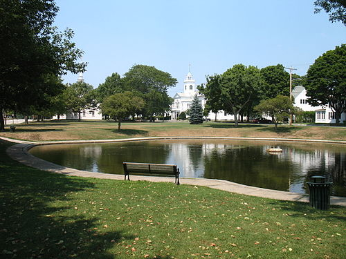 The cement pond on the Cohasset, Mass., common.