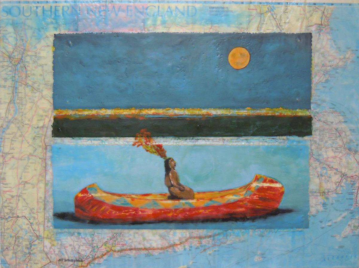 """Old Souvenir in Transit'' (encaustic), by Nancy Spears Whitcomb"