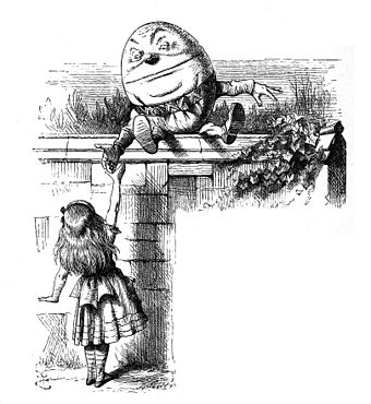 Humpty Dumpty and Alice. From   Through the Looking-Glass .  Illustration by    John Tenn   iel