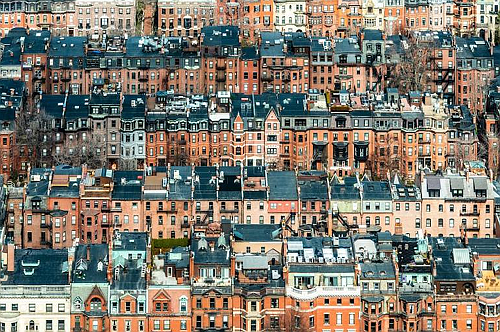 """Back Bay,'' by photographer Roger Palframan, in his show ""City Visions,'' at Copley Society of Art, Boston, through June 15.     Roger Palframan works in Boston but is from Britain. The society says that his most recent work, such as that in ""City Visions,'' focuses on ""organized environments and the unexpected patterns and rhythms they produce. He utilizes shape, form and line to reveal detail and texture and create striking images.'' His photographs ""depict tight clusters of buildings, evoking the crowded feeling of city life while revealing the man-made beauty of each scene.''"