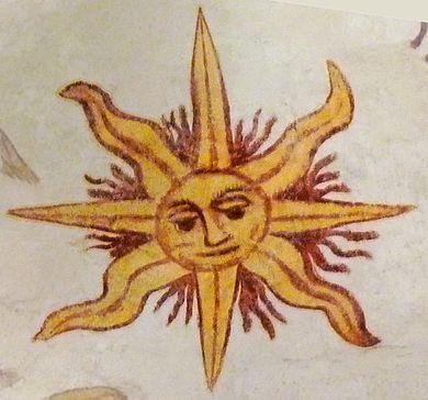 Sun in fresco in    Larbey   , France, painted in 1610.