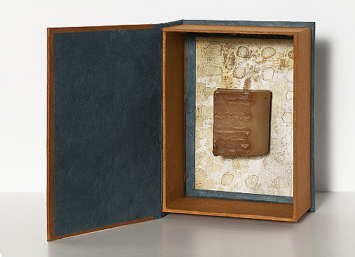 """Point of Departure' (mixed media box book), by Laurie Alpert, in the show ""Obsessions on View,'' at Bromfield Gallery, Boston all this month."