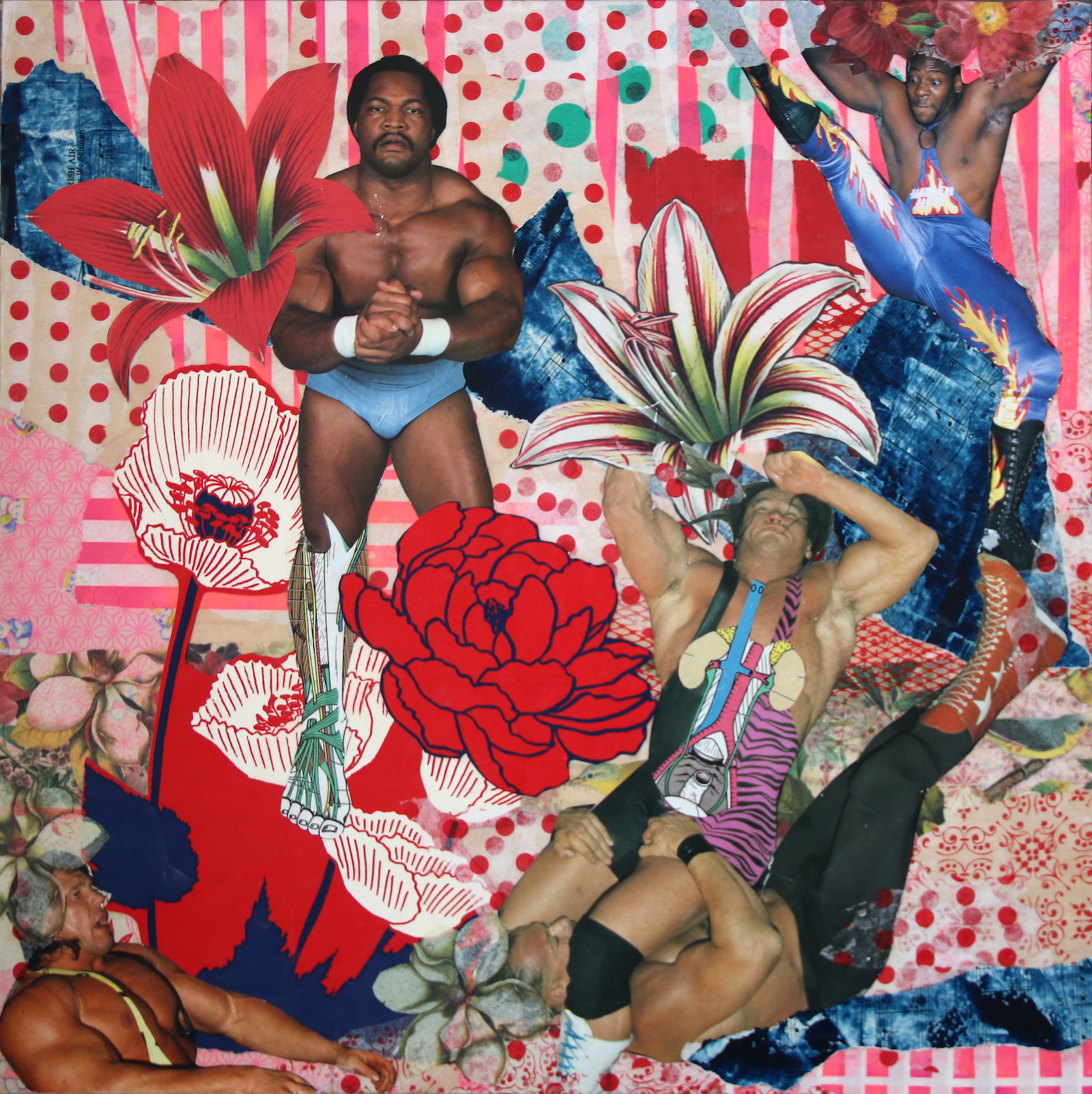 """Flowers of Manhood"" (analog collage), by Angel Dean, in her show ""Collect, Cut, Collage,'' at the Providence Art Club, through May 31."