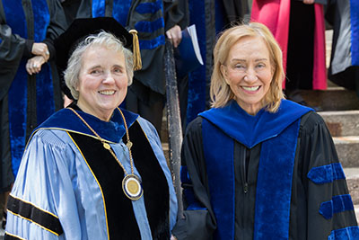 Emmanuel College President Janet Eisner, left, with Emmanuel College honorary degree recipient and commencement speaker historian Doris Kearns Goodwin on May 17.