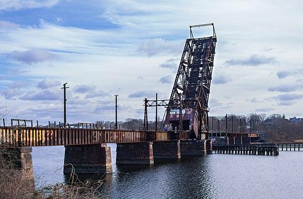 The Crook Point {Railroad} Bridge over the Seekonk River, in Rhode Island.