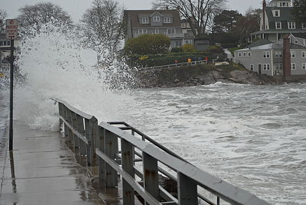 Coastal flooding in Marblehead, Mass., on Oct. 29, 2012 during Superstorm Sandy.