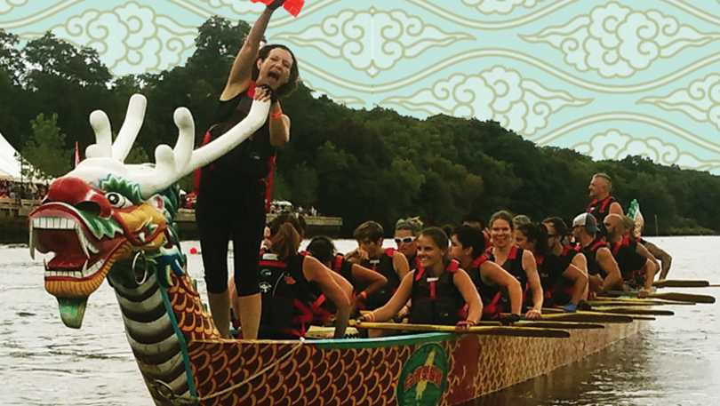 Dragon boat in the annual Taiwan Dragon Boat Festival on the Blackstone River.