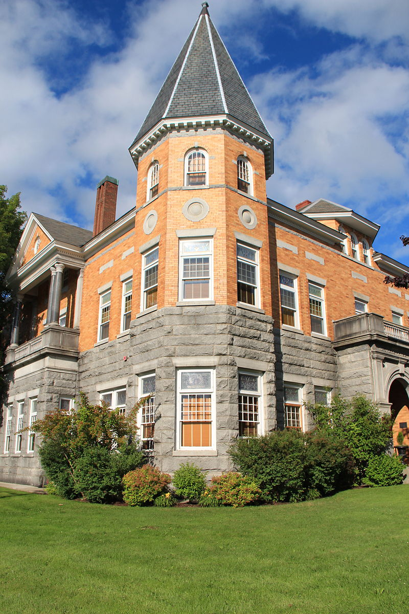 The Haskell Free Library and Opera House is a neoclassical building that straddles the international border in Rock Island, Quebec and Derby Line, Vermont.