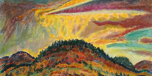 """"""" Sunset over Baxter Mountain'' (oil on cardboard), by Harold Weston, in the show """"Harold Weston: Freedom in the Wilds,'' at the Shelburne (Vt.) Museum through Aug. 25."""