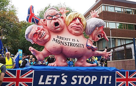 Johnson was one of the Brexiteers being made fun of in this anti-Brexit demonstration in Manchester, England.