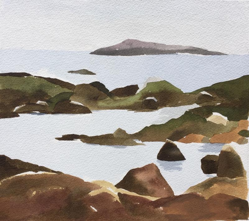 """Tide Pool'' (inks on watercolor paper), by Connie Glore, at Alpers Fine Art, Andover, Mass."