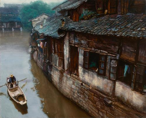 """Going Home (Suzhou) (oil on canvas), by Chen Yifei, in the show  "" Art Purposes: Object Lessons for the Liberal Arts,'' at the Bowdoin College Museum of Art, through Nov. 10."