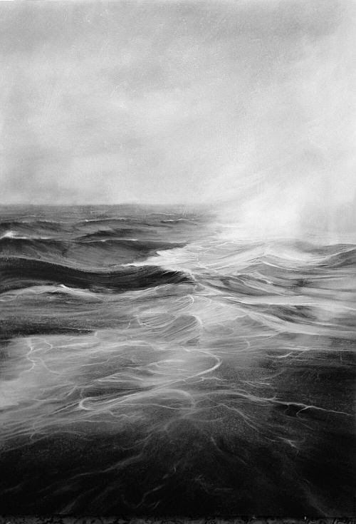 """The Wake of the Gannett'  ( oil on panel), by Jennifer Day, in her show ""Endless,'' through July at Bromfield Gallery, Boston. The gallery says that ""her monochromatic paintings of oceans explore how the motion of air above and water currents below toss waves into a frenzy, defying order and logic. ''"