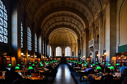 The main reading room of the Boston Public Library