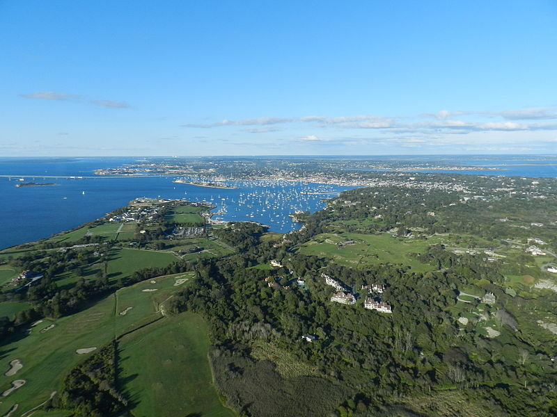 Boat-filled Newport Harbor in the upper center of the picture,    — Photo by MVASCO