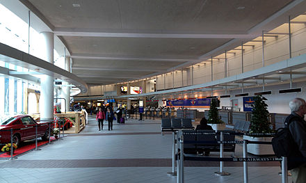 In departures section of the terminal at Manchester Boston Regional Airport