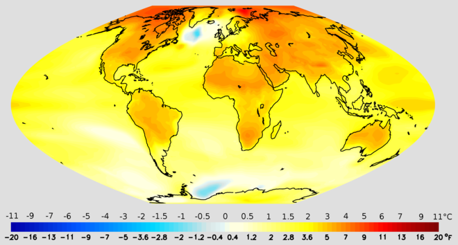 Projected change in annual mean surface air temperature from the late 20th century to the middle 21st century, based on a medium    emissions scenario   . This scenario assumes that no future policies are adopted to limit greenhouse gas emissions.    — Image credit: National Oceanic and Atmospheric Administration