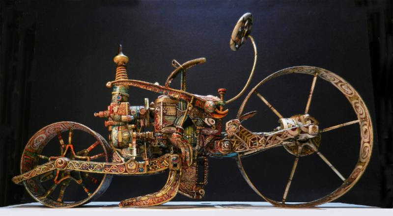 """"""" Celtic Mobile Device """"  (found objects and acrylic), by Lorraine Sullivan, in the show """"New England Collective X,'' at Galatea Fine Art, Boston, July 31-Sept. 1."""