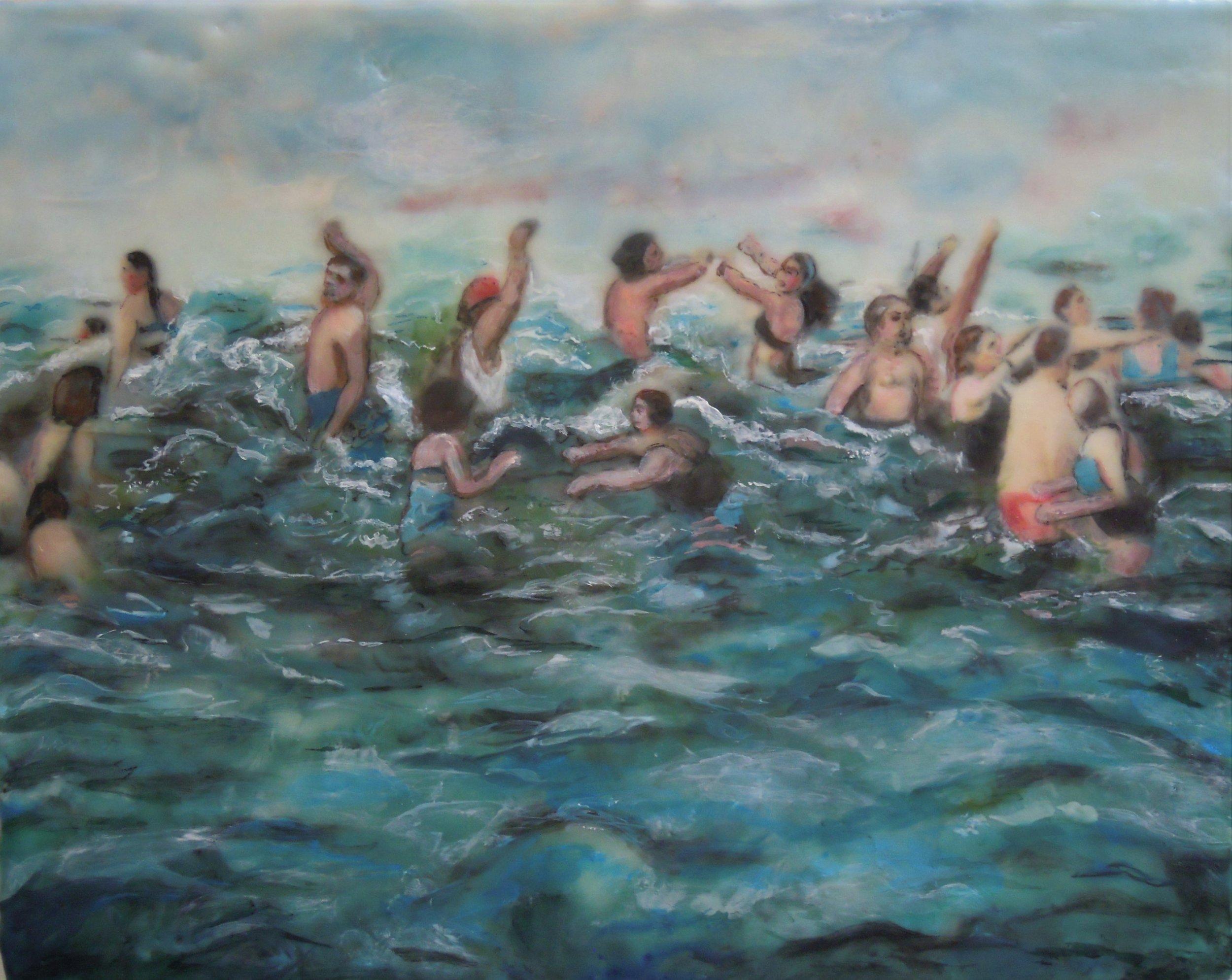 """Surf"" (encaustic), by Nancy Whitcomb"