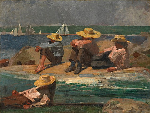 """""""Children on the Beach"""" (oil on canvas, 1873), by Winslow Homer, in the show """"Homer at the Beach: A Marine Painter's Journey,'' at the Cape Ann Museum, Gloucester, Mass., Aug. 3-Dec 1."""