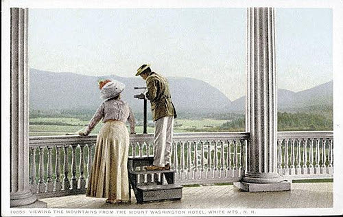 """""""Viewing the Mountains from the Mount Washington Hotel,   White Mountains, New Hampshire'' (print), in the show """"The Grand Hotels of the White Mountains,'' through Sept. 12.    The show explores the history of New Hampshire's grand mountain resort hotels, paying particular attention to the four that still exist out of the thirty that were in business when the industry was at its height around the turn of the last century. The exhibit uses paintings, photographs, artifacts and first-hand accounts from those who stayed as guests and those who worked in these European-style establishments, which hosted up to 200 guests each with elegant rooms, fine dining and numerous recreational activities."""