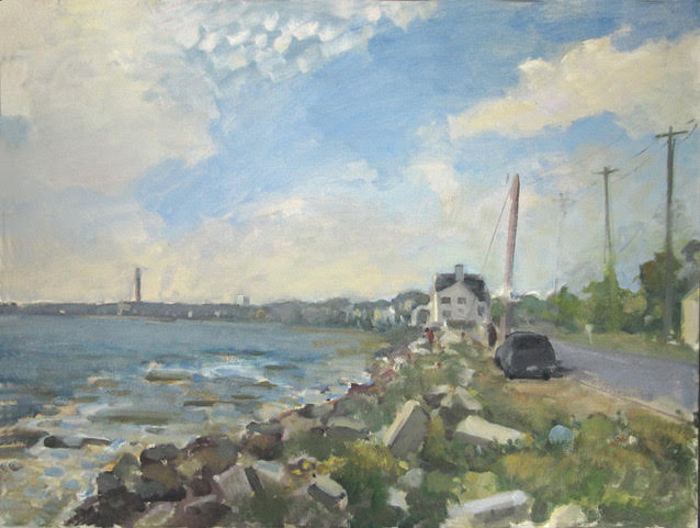 """Fall Town"" (oil on canvas), by Rob DuToit, in his show at the Wellfleet (Mass.) Public Library, Aug. 10-24"
