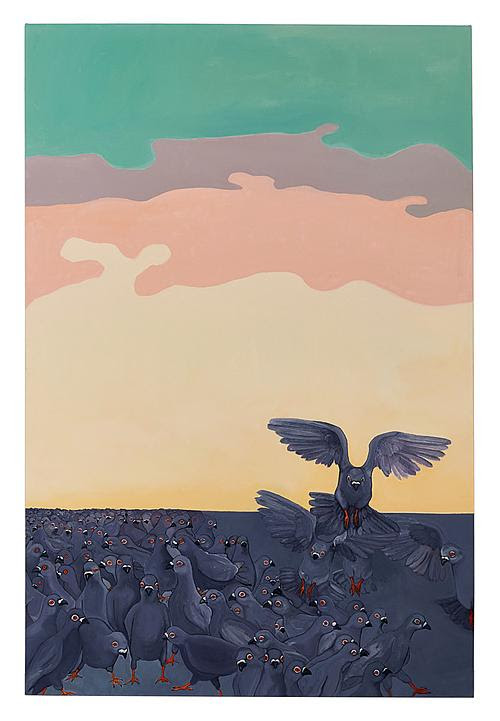 """ New Yorkers'' (oil on canvas on panel), by Purdy Eaton, in her show of paintings and photos called ""Mad to Live,'' at Standard Space, Weston, Conn., through Aug. 25.    The gallery says that Ms. Purdy, with a background in biology and epidemiology, is inspired by the natural world, particularly animals. ""Her paintings feature detailed animals against abstract backgrounds, creating a surreal atmosphere in each piece. Contributing to this are the expressions of each animal: unreadable yet evocative, at turns indifferent and ominous. Each work of art invites the viewer to look ever closer, urging them to examine both the canvas before them and their own impressions of nature. ''"