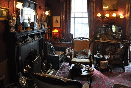 Victorian-style    sitting room with a fireplace in the    Sherlock Holmes Museum   , London