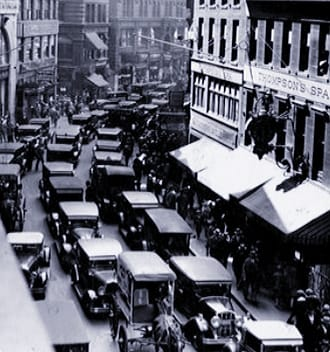 """""""Newspaper Row,'' on Washington Street in Boston, in September 1929, right before the stock market crash in the next month. The    Boston Globe    was at 244 Washington St., the    Boston Evening Transcript    at 324 Washington (at Milk Street), the    Boston Post    at 261 Washington, the    Boston   Journal    at 264 Washington and the    Associated Press    at 293 Washington. Other Boston news services, including the    Boston Herald    and    Boston Traveler   , were not far from Newspaper Row. It was a noisy and crowded part of downtown."""