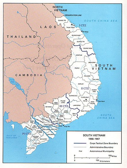 Da Nang, referenced in this essay, is on the ocean toward the upper right.
