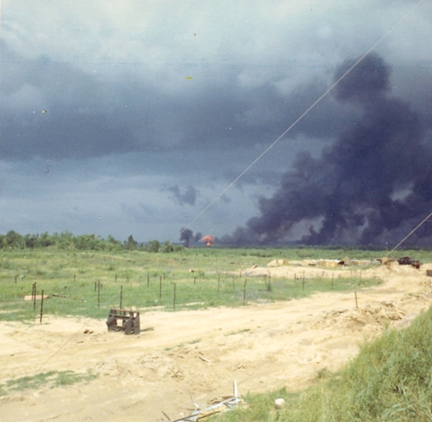 """Mr. Mallon wrote: """"The smoke is from napalm - this is the single most terrifying weapon I've ever witnessed. I was in Japan (106th Army Hospital Yokosuka) down the hall from the burn ward...that was almost unbearable to see and imagine the pain involved. No matter how f— up you were - there was always someone worse off.''"""
