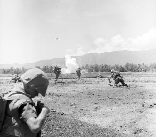Open field fighting in Vietnam.