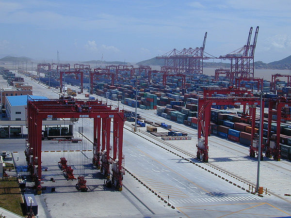 In the Port of Shanghai, the world's biggest container port