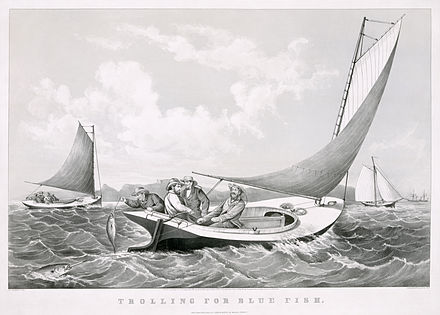 """""""Trolling for blue fish'' (   lithograph    by    Currier & Ives   , 1866)"""
