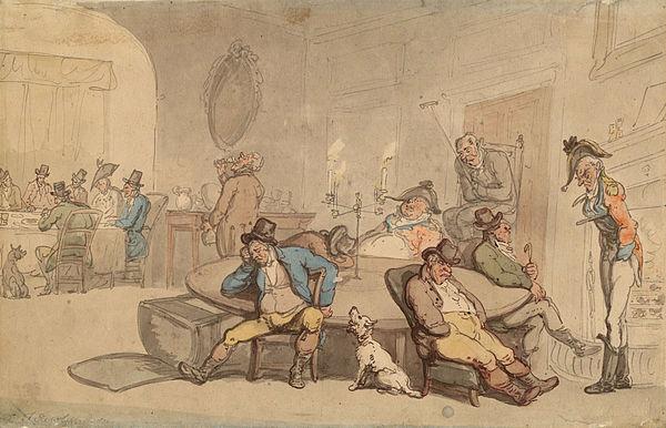 """Scene in Club Lounge ,''  by    Thomas Rowlandson"