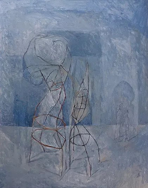 """""""Burden,''  from """" Migrant Series '' ( mixed media on canvas), by Mohammed Daoudi, in his show """"Finding My Way Around Home: Art in the Times of Xenophobia,'' Sept. 13-Dec. 16 at the Conant Gallery at Lawrence Academy, Groton Mass.     The gallery explains that the work stems from Mr. Daodi's experiences with immigration and xenophobia. """"Born in Tangier, Morocco, he came to New York to study what he calls 'money-making subjects' at Skidmore College and the Columbia University School of International Affairs. Between these experiences and his marriage to a Jewish woman, his background is a rich patchwork of cultural experience, giving him a unique perspective on humanity.''''"""