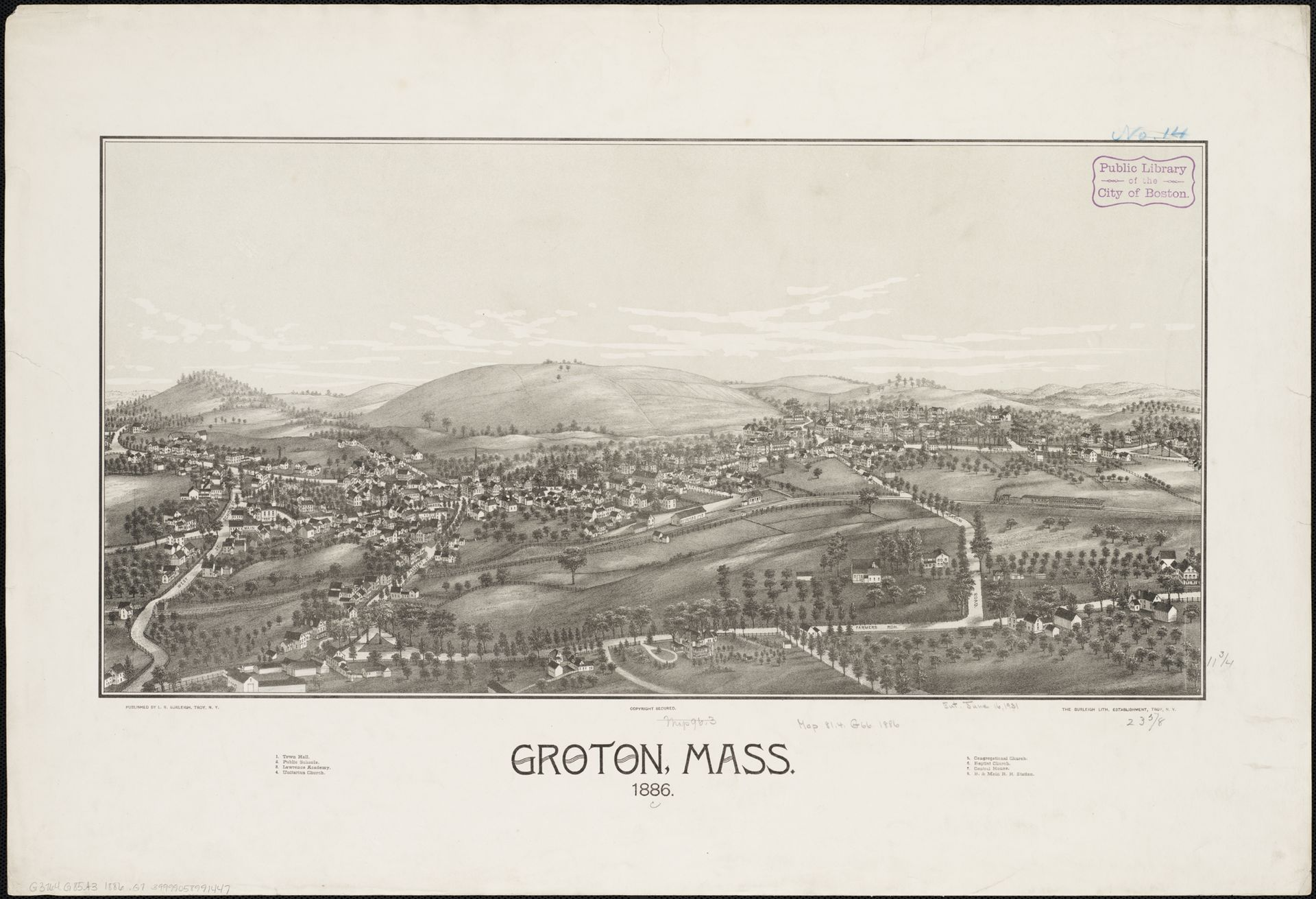 Lithograph    of Groton from 1886 by    L.R. Burleigh    with list of landmarks