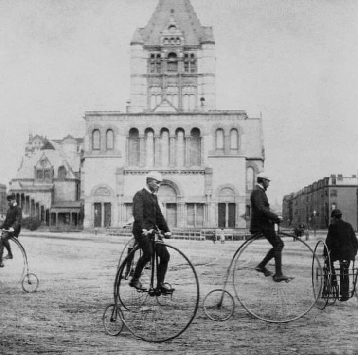 Pollution-free transportation in front of Boston's Trinity Church in the 1890s.