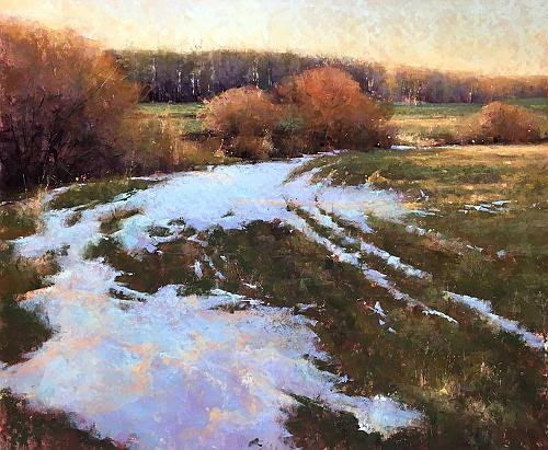"""March Thaw'' (pastel), by Jacob Aguiar, in the show ""For Pastels Only,'' at the Saco Museum, Saco, Maine, Sept. 11-Oct. 25"