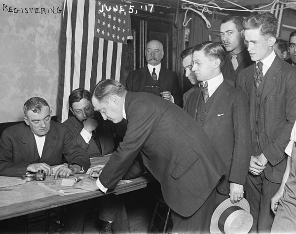On June 5, 1917, young men in New York City registering for the draft during    World War I    .
