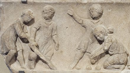 Children playing ball games, Roman artwork, 2nd Century A.D.