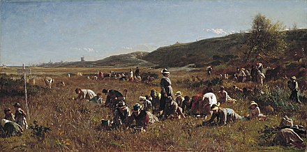"""The Cranberry Harvest on the Island of    Nantucket  ,''  by    Eastman Johnson   , 1880."